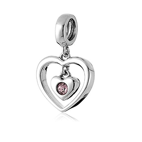 Austrian Love Crystal - Dangle Swarovski Crystal Radiant Heart Bead - 925 Sterling Silver&Austrian Crystals Beads - Fit European Bracelet