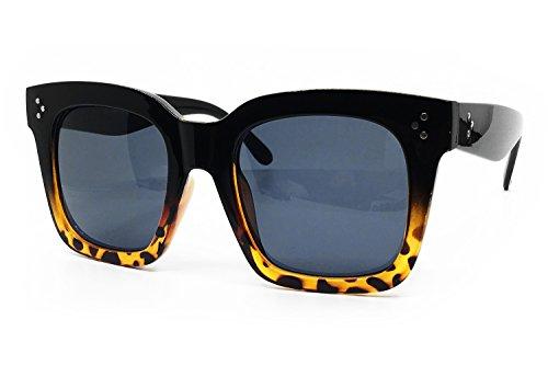 O2 Eyewear 1762 Premium Oversize XXL Women Men Havana Tilda Shadow Style Fashion Sunglasses (SOLID BLACK BROWN, ()