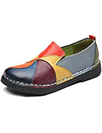 Slip-on Loafer, Womens Rainbow Leather Casual Loafer Flat Walking Shoes Driving Loafers Moccasin