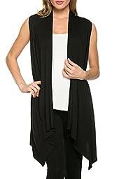 Women\'s Solid Color Lightweight Sleeveless Asymmetrical Hem Open Front Viscose Knit Cardigan Vest (Large, Black)
