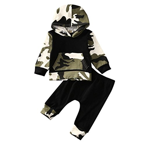 Vovotrade 2Pcs Outfits Toddler Infant Baby Boy Clothes Set Camouflage Hooded Tops+Pants (3M, Camouflage) ()