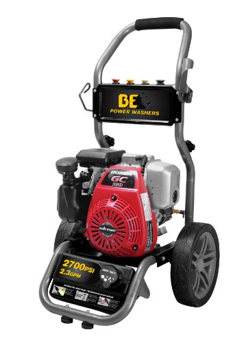 Grey 2700 PSI at 2.3 GPM BE Power Equipment Workshop Series Gas Pressure Washer Powered by Honda GC160 Engine