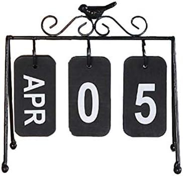 VOSAREA Tischkalender Dauerkalender Vintage Eisenrahmen Vogel Design Deko Kalend Tisch Dekoration (Schwarz)
