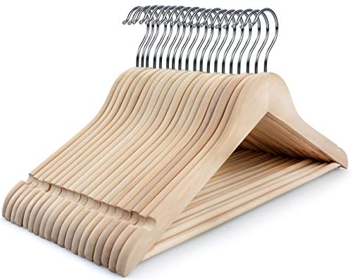 TOPIA HANGER Adult Unfinished/Natural Wood Clothes Hangers, Wooden Suit Coat Jacket Hangers - 360°Stronger Flexible Hook- Extra Smoothly Cut Notches- 18 Pack - CT10N (Maple Wood Coat Hanger)
