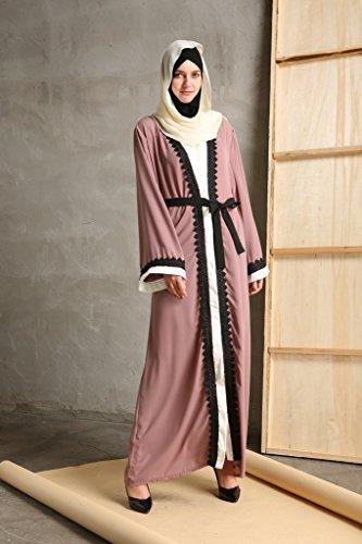 YI HENG MEI Women's Elegant Modest Muslim Islamic Full Length Lace Hem Abaya Dress with Belt,Pink Purple,XL by YI HENG MEI (Image #2)