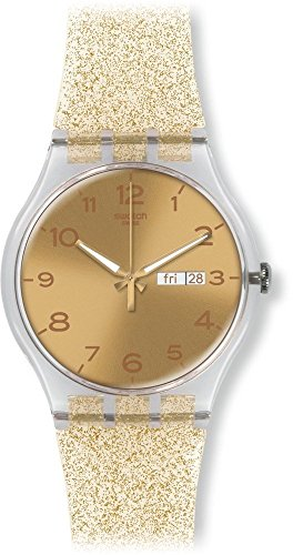 Swatch Golden Dial Golden Sparkle Silicone Ladies Watch SUOK704