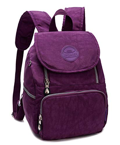Mini Water-resistant Nylon Backpack for Women Girls Small Backpack Purse Lightweight Travel Daypack for Hiking Sports Outdoor Diseny Disenyland (Solid Purple)