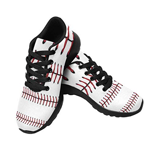 InterestPrint Women's Running Shoes Tennis Athletic Jogging Sport Walking Sneakers US10 Softball, Baseball Red Lace Over White Background