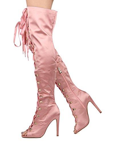 Cape Robbins Kvinnor Satin Låret Hög Stilett Boot - Dressy, Party, Dräkt - Gf71 Av Pink
