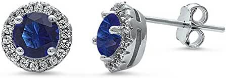Halo Simulated Blue Sapphire & Cubic Zirconia stud .925 Sterling Silver Earrings