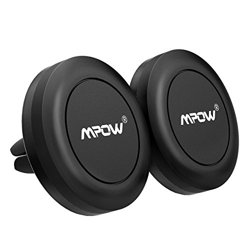 Magnetic Car Phone Mount, Mpow [2 Pack] Universal Air Vent Car Mount Phone Holder, Strong Magnet Phone Mount Holder for Cell Phones and Mini Tablets, with 4 Metal Plates