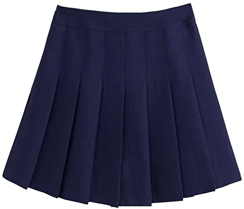 (chouyatou Women's Simple High Waist All Around Pleated A-Line Skirt (Small, Navy))
