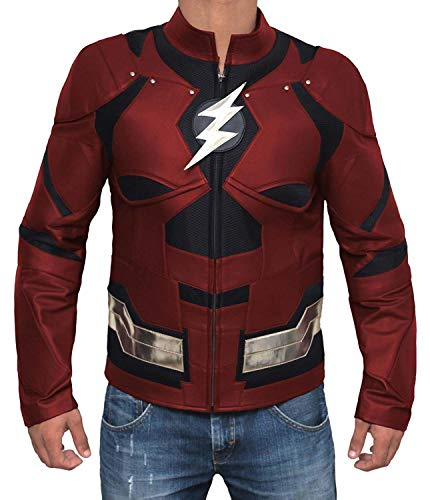 Flash Jacket Men - Justice League Biker Maroon Jacket Men |M (Jacket Superhero)