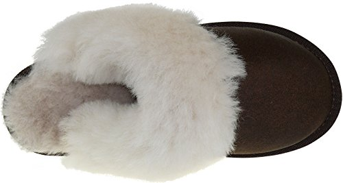 Harrys-Collection Damen Pantoffeln Aus Lammfell extar Dick Antikbraun