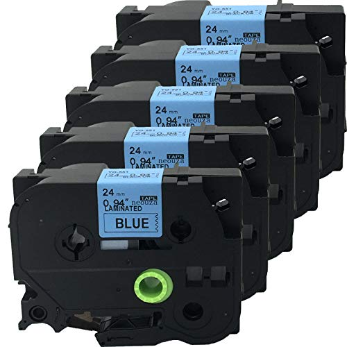 NEOUZA 5PK Compatible For Brother P-Touch Laminated Tze TZ Label Tape Cartridge 24mm x 8m (TZe-551 Black on Blue)
