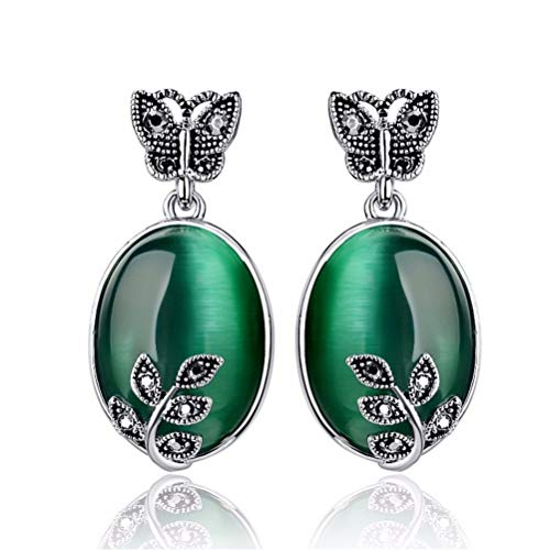 Simulated Green Emerald Leaf Oval Cut Stud Earrings Wedding Jewelry Birthday Mother Gift
