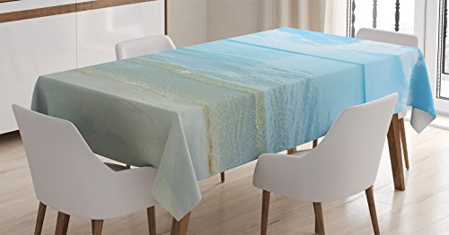 Ocean Decor Tablecloth by Ambesonne, Bright Sunny Summer Day at the Sandy Beach Tranquil Calm Shore Sea Horizon Image Artprint, Rectangular Table Cover for Dining Room Kitchen, 60x90 Inch, Blue (Beach Tablecloth)