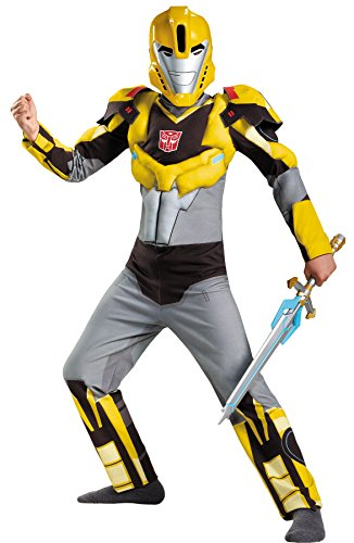 Classic Optimus Girls Costumes (UHC Boy's Transformers Bumblebee Classic MUSCLE Child Halloween Costume, Child S (4-6))