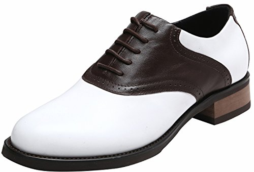 U-lite Women's Classic Retro Saddle Shoes,Lady's Round-Toe Leather Sadie Oxford Chocolate9 (Womens Shoes 1950s Saddle)