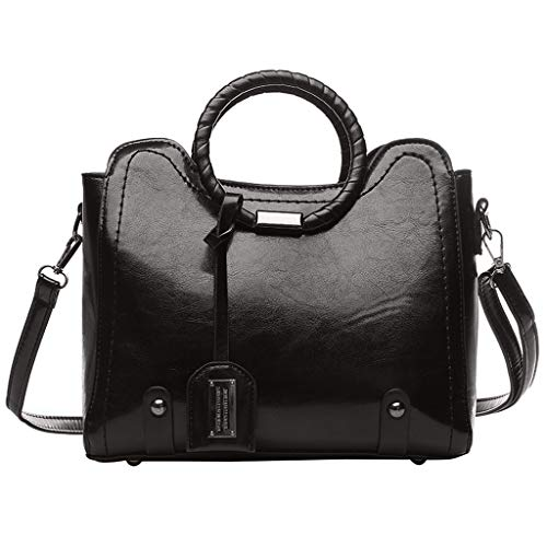 (Womens Vintage Handbag Shoulder Bags Ladies Designer Top Handle Satchel Leather Purses Cosmetic Messenger Bag (Dark Gray, One))