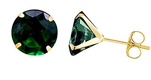 10k Yellow Gold 10mm Round Simulated Green Emerald Stud Earrings ()