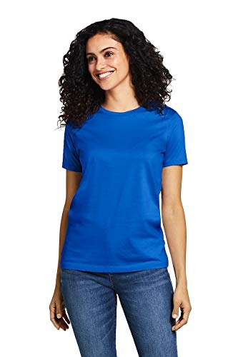 - Lands' End Women's Relaxed Fit Supima Cotton Crewneck Short Sleeve T-Shirt Vibrant Blue
