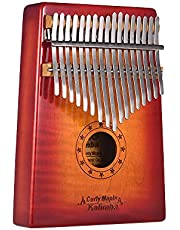 JJmooer GECKO MC-S 17-key Kalimba Thumb Piano Mbira Curly Maple Solid Wood with Carry Bag Storage Case Tuning Hammer Music Book Stickers Musical Gift