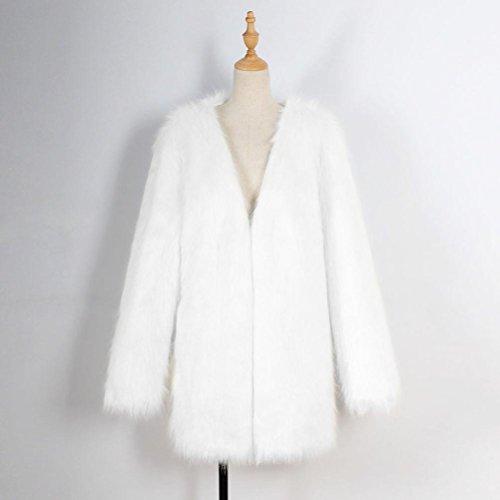 Calda Bianco Cappotto Donne Casuali Invernale Outwear pelliccia Cappotto Giacca Cappotto Eco Nero Signore Lunga Parka Mamum n0naS6W