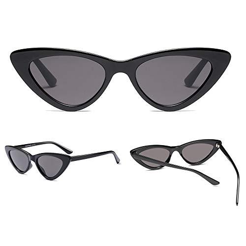 lunettes à Vintage Lunettes Femmes Noir Rétro verres Gris Dames Mode Triangle Dintang soleil de nxZqUz