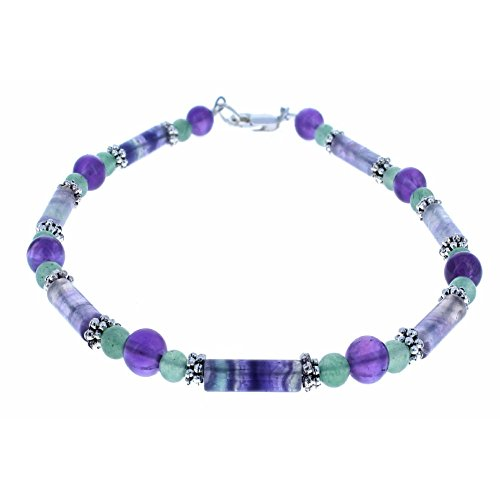 Ladies Amethyst, Rainbow Fluorite, Aventurine & Sterling Silver Beaded Anklet with Daisies - (Amethyst Beaded Anklet)