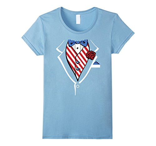 Womens Stars & Stripes Rose American Tux Costume Graphic T-Shirt XL Baby (Baby Blue Tux)