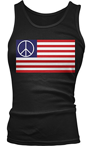 Peace Sign Womens Tank Top (Amdesco Junior's American Flag Peace Sign Tank Top, Black Large)