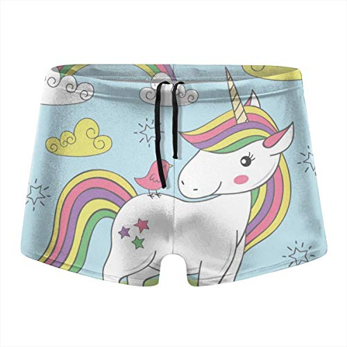 - Men's Swimwear Unicorn and Bird On The Meadow Low Waist Boxer Shorts Swimming Trunks