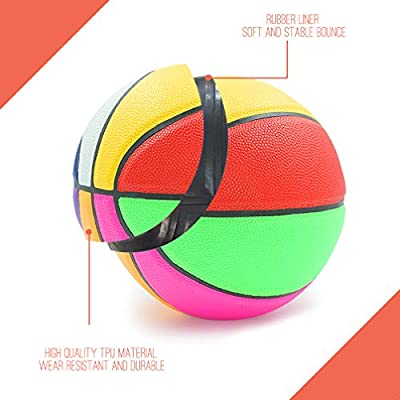 Aoneky Rubber Size 3 Basketball - Colorful Rainbow Ball for Kids Aged 3-7 Years Old, Girls Boys Mini Sport Ball Toy, Ball Pump Included: Toys & Games