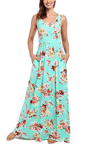 Comila Womens Maxi Dress Floral, Women Retro Stylish Floral Tank Maxi Dress Summer Bohemian Style Elegant Sleeveless Scoop Neck Bridesmaid Wedding Dress Clothes Green S (US 4-6) by Comila