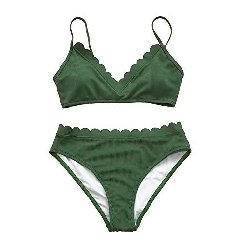 Peony Red Cute Green Scalloped Bikini Sets 2019 Women Solid Two Pieces Beach Bathing Suits Swimwear,AB30603M,XL