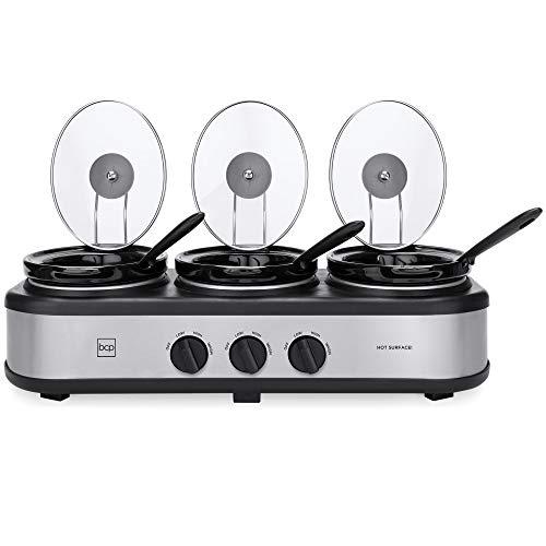Best Choice Products 4.5qt 300W Triple Slow Cooker Buffet Server w/ 3x 1.5-Quart Dishwasher-Safe Ceramic Pots, 3 Adjustable Temperature Settings, Lid Rests, 3 Glass Lids, 3 Serving Spoons - Silver ()