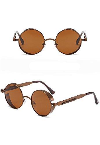 Gafas Sol Gafas sol reflexivo Redondo G RFVBNM Color Pierna la de la Retro Pierna Actual Marco Espejo de Metal Señora de de de K RqCdwxUd