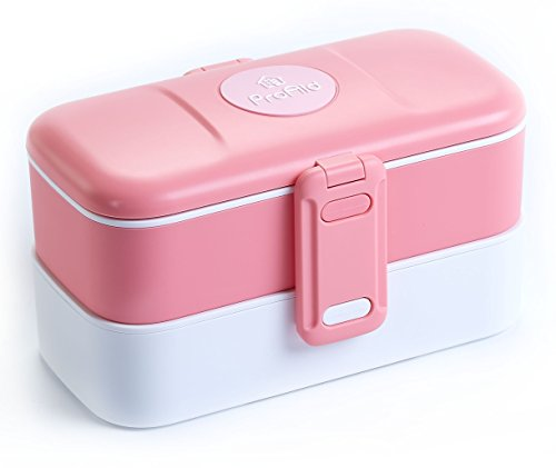 ProAid Leakproof Bento Box with Silverware 2 Layers Design Lunch Box , FDA Approved,Safe for Microwave Fridge and Dishwasher,Pink