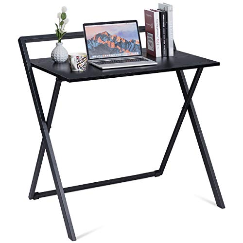 Tangkula Folding Computer Desk PC Laptop Table, Space Saving Study, Reading, Writing Workstation, with Metal Frame, MDF Board, Sturdy and Large Load Capacity, for Home Office Use Black Update