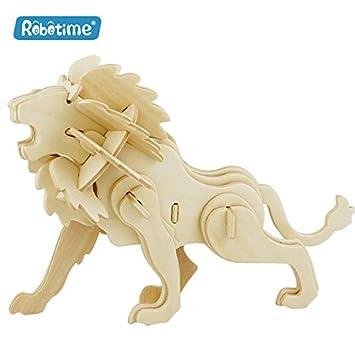 e1b1bb99 3D Wooden Puzzle - DIY Model Kit - Toys for Kids - Animal Series (Lion)