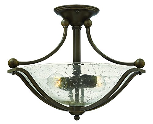 Hinkley 4651OB-CL Transitional Two Light Semi-Flush Mount from Bolla Collection in Bronze/Darkfinish,