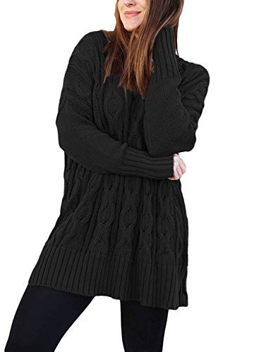 Les umes Womens Longline V Neck Solid Loose Baggy Fit Chunky Knit Oversized Sweater Black L