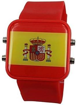 Bheema Reloj de Muñeca LED Unisex con la Bandera de España y la Correa de Silicona: Amazon.es: Relojes