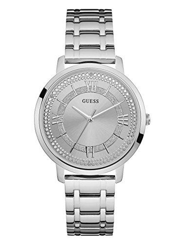 Ladies Glitz Watch (GUESS Women's Stainless Steel Glitz Casual Watch, Color: Silver (Model: U0933L1))