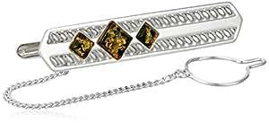 Men's Sterling Silver Green Amber Filigree Classic Tie Pin