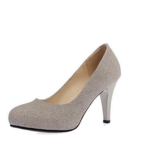 AllhqFashion Damen Weiches Material Rund Zehe Hoher Absatz Ziehen auf Rein Pumps Schuhe Golden