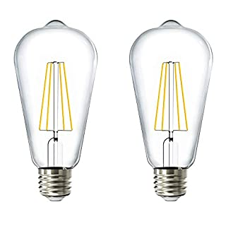 Sunco Lighting 2 Pack ST64 LED Bulb, Dusk-to-Dawn, 7W=60W, 4000K Cool White, Vintage Edison Filament Bulb, 800 LM, E26 Base, Outdoor Decorative String Light - UL Listed