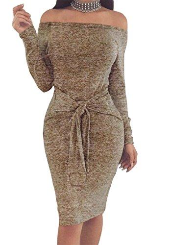 Les Femmes Cromoncent Au Large Ceinture Vogue À Manches Longues Burnout Épaule Robe Moulante Couleur Kaki Midi