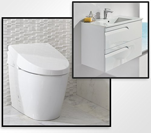 TOTO MS982CUMG#01 Neorest 550H Toilet with FREE 24'' European Floating Bathroom Vanity with Sink, White by TOTO